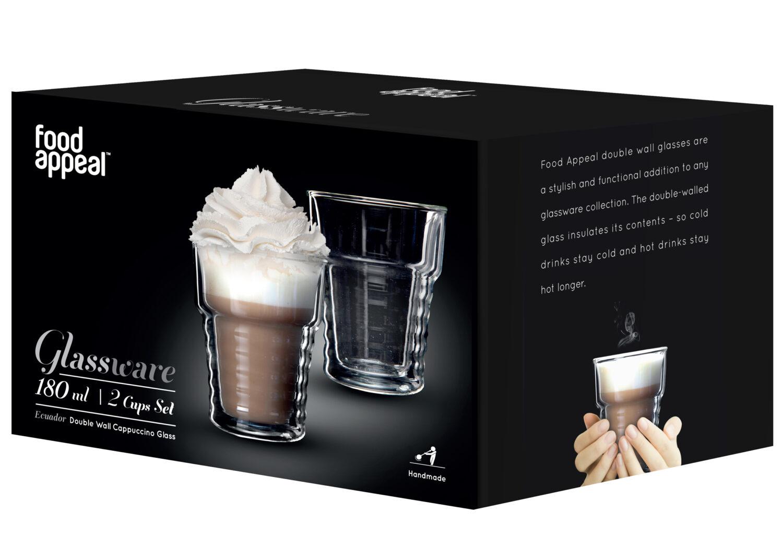 "Cappuccino Ecuador סט 2 כוסות דאבל 180 מ""ל Food Appeal פוד אפיל"