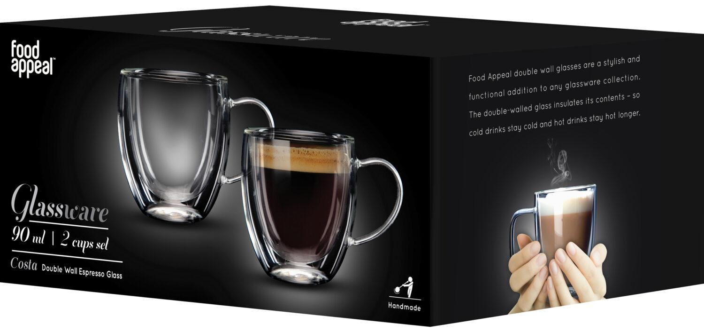 """סט 2 כוסות דאבל 90 מ""""ל Food Appeal Costa פוד אפיל"""
