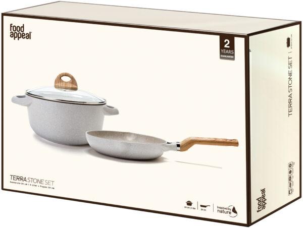 סט סיר 24 ס״מ 4 ליטר + מחבת 24 ס״מ Food Appeal Black TerraStone פוד אפיל