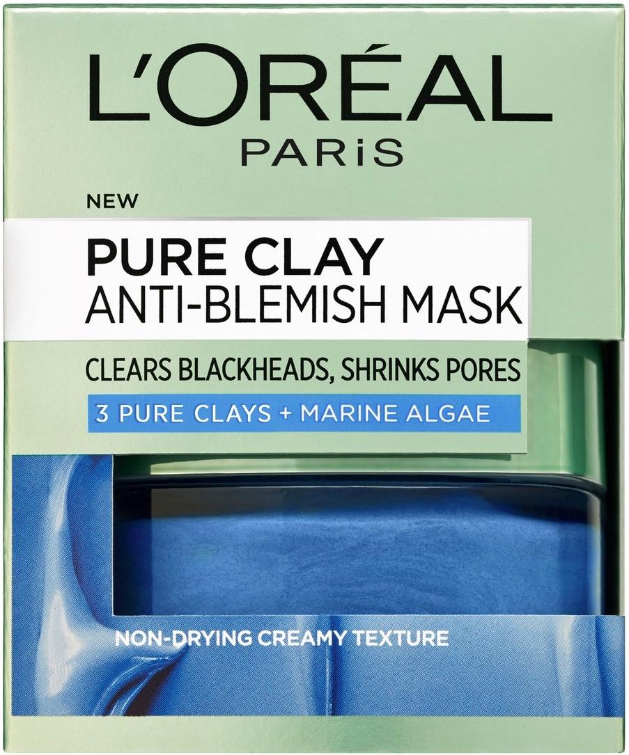 """מסכת חימר להפחתה במראה פגמי העור 50 מ""""ל L'Oréal Paris Blue Pure Clay Mask"""