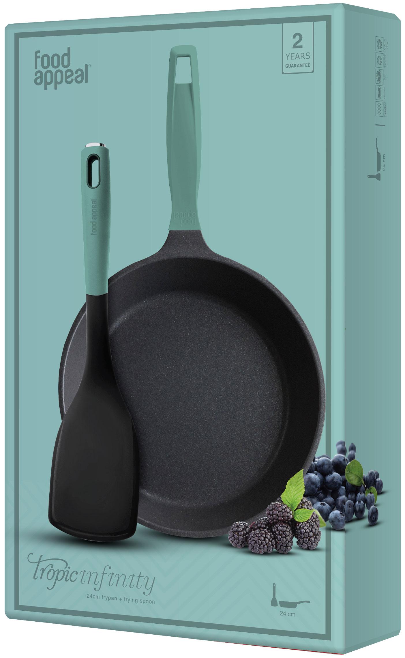 """מחבת 24 ס""""מ + כף טיגון כחולה מבית Food Appeal פוד אפיל"""