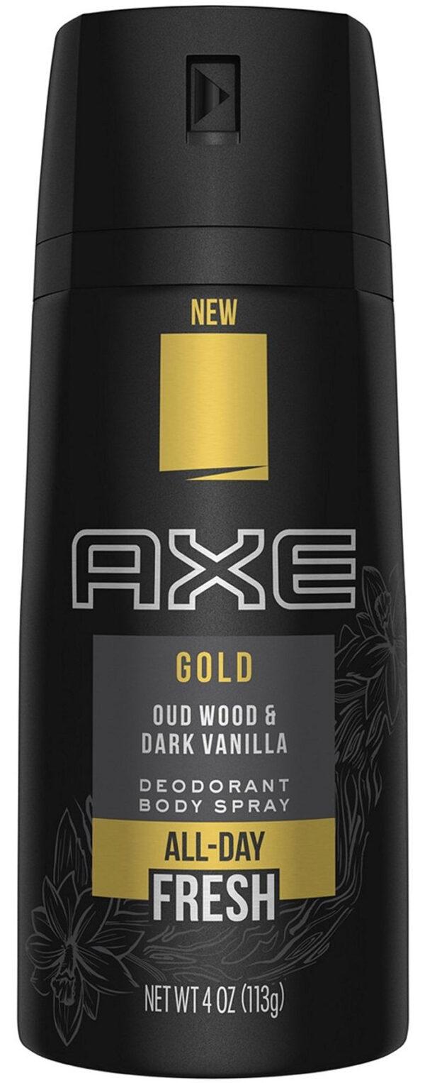 """אקס בודי דאודורנט ספריי גוף גולד 150 מ""""ל All Day Fresh Oud Wood & Dark Vanilla"""