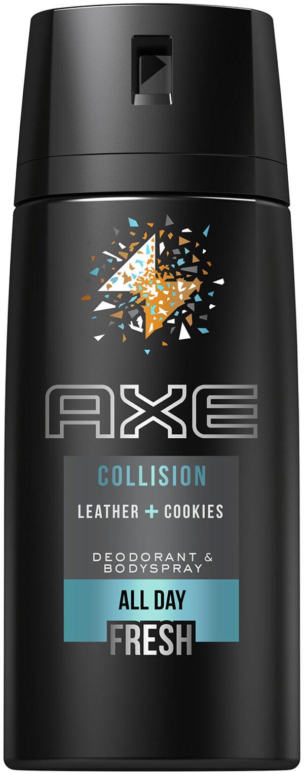 """אקס דאודורנט ספריי גוף לגבר 150 מ""""ל All Day Fresh Collision Leather & Cookies"""